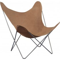 Vlinderstoel Cognac Leder - Spinder Design