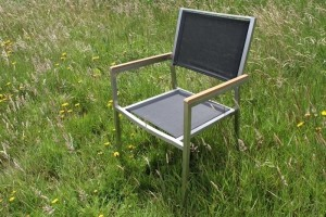 ZomerTopper: Tuinstoel RVS / Textileen met Kunstof armleuningen